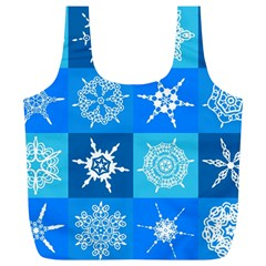 Background Blue Decoration Full Print Recycle Bags (L)