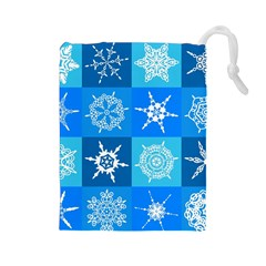 Background Blue Decoration Drawstring Pouches (Large)