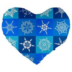 Background Blue Decoration Large 19  Premium Flano Heart Shape Cushions
