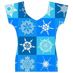 Background Blue Decoration Women s V-Neck Cap Sleeve Top