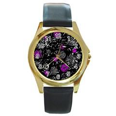 Purple mind Round Gold Metal Watch