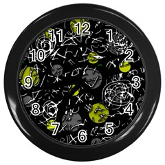 Yellow mind Wall Clocks (Black)