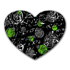 Green mind Heart Mousepads