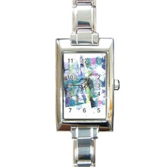 Background Color Circle Pattern Rectangle Italian Charm Watch