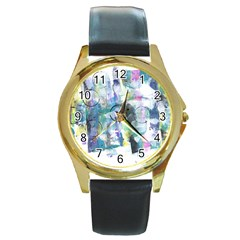 Background Color Circle Pattern Round Gold Metal Watch