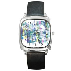 Background Color Circle Pattern Square Metal Watch