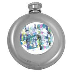 Background Color Circle Pattern Round Hip Flask (5 oz)