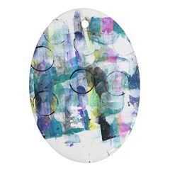 Background Color Circle Pattern Oval Ornament (Two Sides)