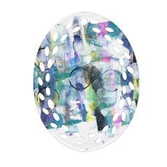 Background Color Circle Pattern Oval Filigree Ornament (2-Side)