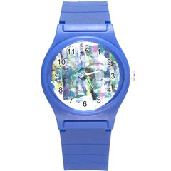 Background Color Circle Pattern Round Plastic Sport Watch (S)