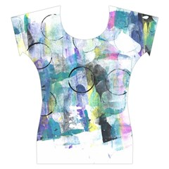 Background Color Circle Pattern Women s Cap Sleeve Top