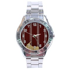 Background Texture Distress Stainless Steel Analogue Watch