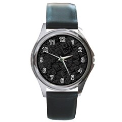 Black Rectangle Wallpaper Grey Round Metal Watch