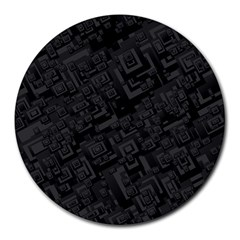 Black Rectangle Wallpaper Grey Round Mousepads