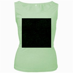 Black Rectangle Wallpaper Grey Women s Green Tank Top