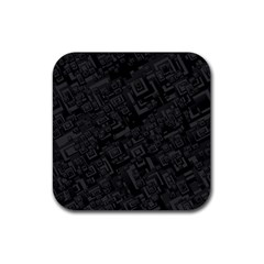 Black Rectangle Wallpaper Grey Rubber Square Coaster (4 pack)