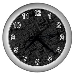 Black Rectangle Wallpaper Grey Wall Clocks (Silver)