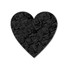 Black Rectangle Wallpaper Grey Heart Magnet