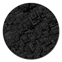 Black Rectangle Wallpaper Grey Magnet 5  (Round)