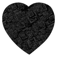 Black Rectangle Wallpaper Grey Jigsaw Puzzle (Heart)