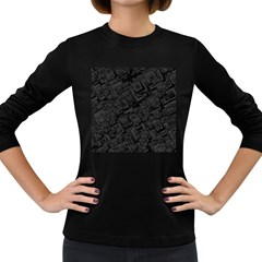 Black Rectangle Wallpaper Grey Women s Long Sleeve Dark T-Shirts