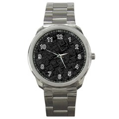 Black Rectangle Wallpaper Grey Sport Metal Watch