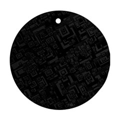 Black Rectangle Wallpaper Grey Round Ornament (Two Sides)