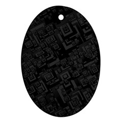 Black Rectangle Wallpaper Grey Oval Ornament (Two Sides)