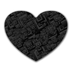 Black Rectangle Wallpaper Grey Heart Mousepads