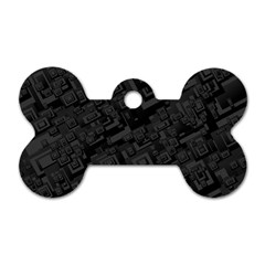Black Rectangle Wallpaper Grey Dog Tag Bone (Two Sides)