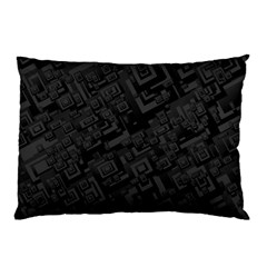 Black Rectangle Wallpaper Grey Pillow Case