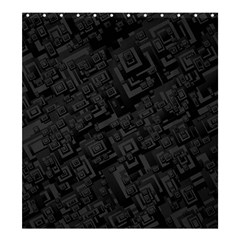 Black Rectangle Wallpaper Grey Shower Curtain 66  x 72  (Large)
