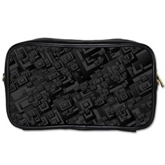 Black Rectangle Wallpaper Grey Toiletries Bags 2-Side