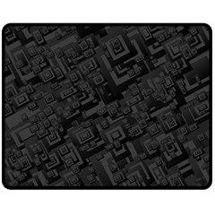 Black Rectangle Wallpaper Grey Fleece Blanket (Medium)