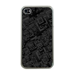 Black Rectangle Wallpaper Grey Apple iPhone 4 Case (Clear)