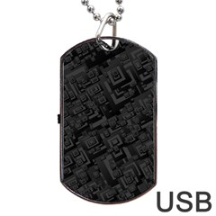 Black Rectangle Wallpaper Grey Dog Tag USB Flash (Two Sides)