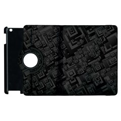 Black Rectangle Wallpaper Grey Apple iPad 2 Flip 360 Case