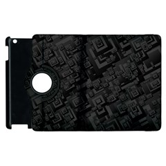 Black Rectangle Wallpaper Grey Apple iPad 3/4 Flip 360 Case