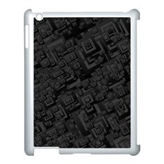 Black Rectangle Wallpaper Grey Apple iPad 3/4 Case (White)