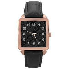 Black Rectangle Wallpaper Grey Rose Gold Leather Watch