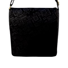 Black Rectangle Wallpaper Grey Flap Messenger Bag (L)