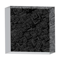 Black Rectangle Wallpaper Grey 5  x 5  Acrylic Photo Blocks