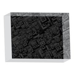 Black Rectangle Wallpaper Grey 5 x 7  Acrylic Photo Blocks