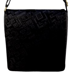 Black Rectangle Wallpaper Grey Flap Messenger Bag (S)