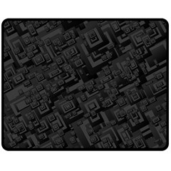 Black Rectangle Wallpaper Grey Double Sided Fleece Blanket (Medium)