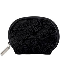 Black Rectangle Wallpaper Grey Accessory Pouches (Small)