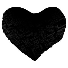 Black Rectangle Wallpaper Grey Large 19  Premium Flano Heart Shape Cushions