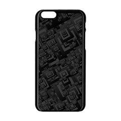 Black Rectangle Wallpaper Grey Apple iPhone 6/6S Black Enamel Case