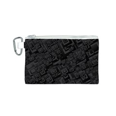 Black Rectangle Wallpaper Grey Canvas Cosmetic Bag (S)