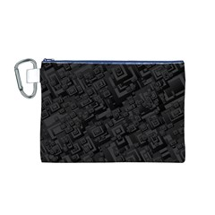 Black Rectangle Wallpaper Grey Canvas Cosmetic Bag (M)